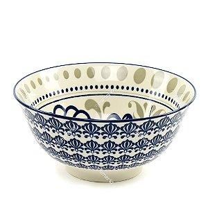 Bowl de Cerâmica Arabescos Azul e Bege Grande