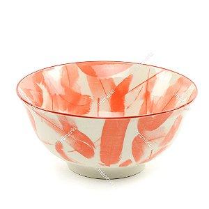 Bowl de Cerâmica Penas Vermelho e Branco Grande