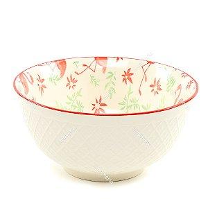 Bowl de Cerâmica Flamingos e Folhas Vermelho e Verde Grande