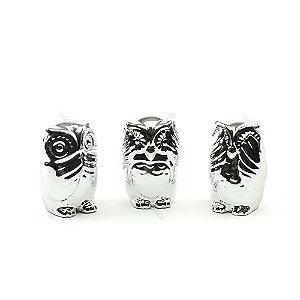 Kit Coruja Decorativa em Cerâmica Não Fala, Não Ouve, Não Vê Prata
