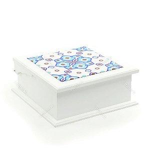 Caixa de Chá MDF Azulejo Istambul Azul