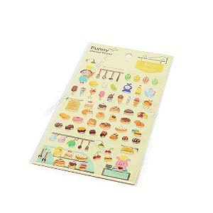Cartela de Adesivos Stickers Bany Bakery em Alto Relevo