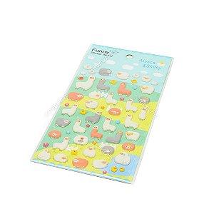 Cartela de Adesivos Stickers Lhamas e Ovelhas em Alto Relevo