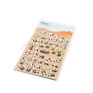 Cartela de Adesivos Stickers Pandas em Alto Relevo