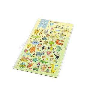 Cartela de Adesivos Stickers Animais Amigos em Alto Relevo