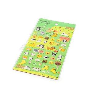 Cartela de Adesivos Stickers Cachorros em Alto Relevo
