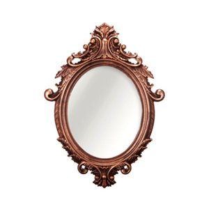 Espelho Vintage Oval Rococó Cobre 38x55
