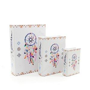 Conjunto 3 Livros Caixa Decorativos Filtro dos Sonhos