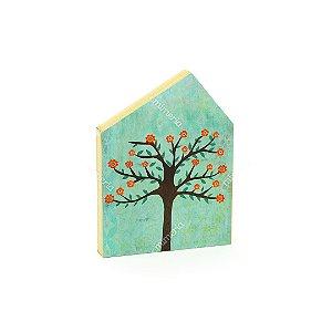 Quadro de Madeira em Forma de Casa Azul Árvore