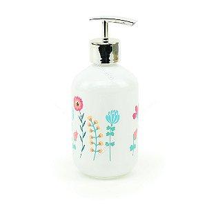 Porta Sabonete Liquído de Vidro Branco Flores