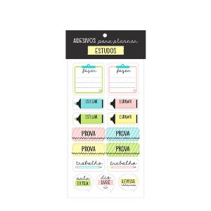 Cartela de Adesivos para Planner Estudos