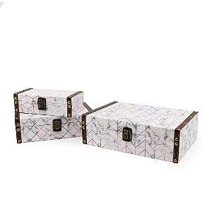 Conjunto 3 Caixas com Fecho Marmorizado Branco