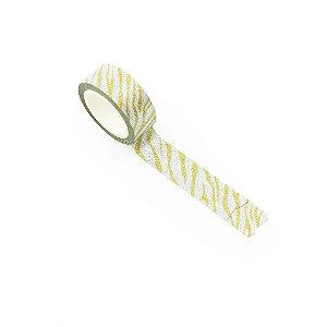 Fita Adesiva Washi Tape Decorada com Glitter Zebra Prata e Amarela