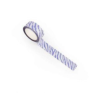 Fita Adesiva Washi Tape Decorada com Glitter Zebra Prata e Azul