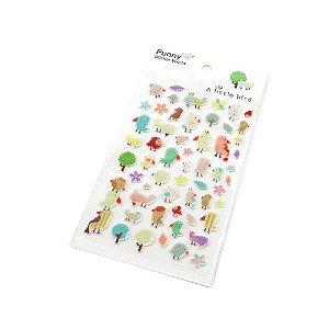 Cartela de Adesivos Stickers Passarinhos em Alto Relevo