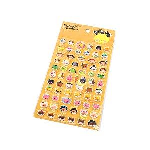 Cartela de Adesivos Stickers Smile Zoo em Alto Relevo