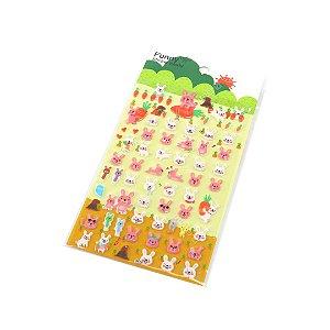 Cartela de Adesivos Stickers Coelhos Rosa e Branco em Alto Relevo