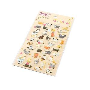 Cartela de Adesivos Stickers Gatinhos em Alto Relevo