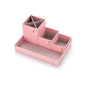 Kit Caixas Organizadoras Pink Stone Geométrico