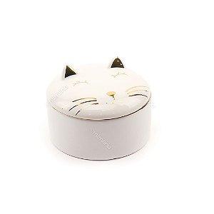 Caixa Redonda de Cerâmica Gato Branco e Dourado Grande