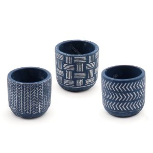 Kit Cachepô Decorativo em Cimento Azul