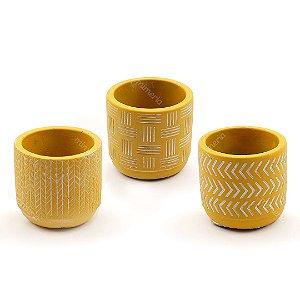 Kit Cachepô Decorativo em Cimento Amarelo Mostarda