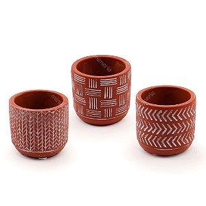 Kit Cachepô Decorativo em Cimento Vermelho