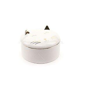 Caixa Redonda de Cerâmica Gato Branco e Dourado Pequena