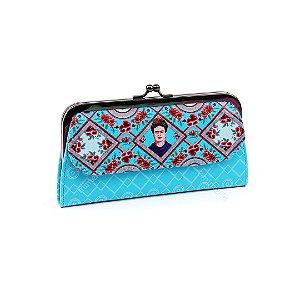 Carteira Frida Kahlo Flores e Face Azul Turquesa
