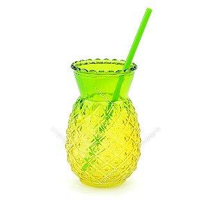 Copo de Vidro com Canudo Abacaxi Verde 600 ml