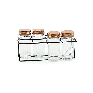 Kit Porta Condimentos em Metal Preto e Cobre