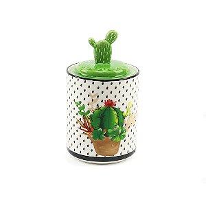 Pote em Cerâmica Decorativo Cactus Verde Grande