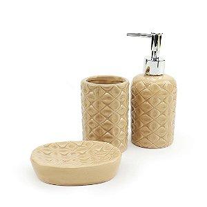 Kit de Banheiro em Cerâmica Diamond Bege
