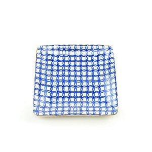 Mini Prato Decorativo em Cerâmica Quadrado Círculos Azul e Branco