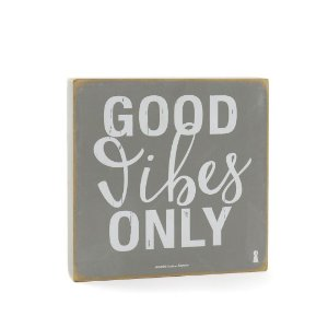 Quadro Box Good Vibes Only Cinza 25x25