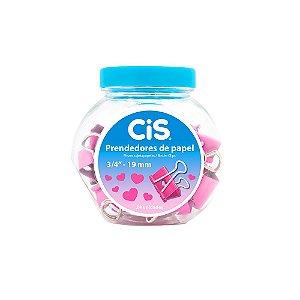 Kit de Prendedores de Papel Coração Rosa Pote com 24 Unidades