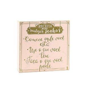 Quadro Box Receita para Sonhos Rosa 25x25