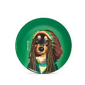 Prato de Sobremesa de Cerâmica Pets Rock Reggae