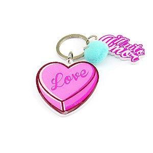Chaveiro Estampado Ultra Violeta Coração Love