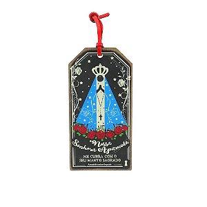 Plaquinha Tag Preta Nossa Senhora Aparecida