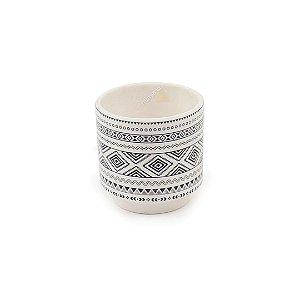Cachepô em Cerâmica Branco e Cinza Pequeno