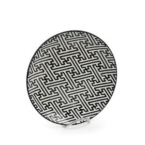 Prato Raso em Porcelana Decorativo Grego Preto e Branco
