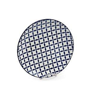 Prato Raso em Porcelana Decorativo Geométrico Azul e Branco