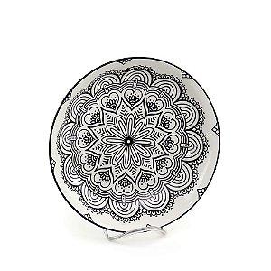 Prato Fundo em Porcelana Decorativo Mandala Preto e Branco