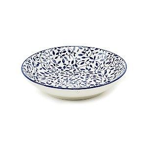 Prato Fundo em Porcelana Decorativo Floral Azul e Branco