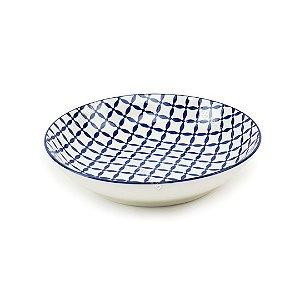 Prato Fundo em Porcelana Decorativo Geométrico Circular Azul e Branco