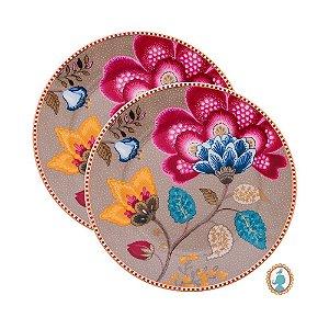 Set/2 Pratos de Pão Cáqui Floral Fantasy Pip Studio
