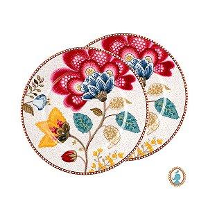 Set/2 Pratos de Pão Branco Floral Fantasy Pip Studio