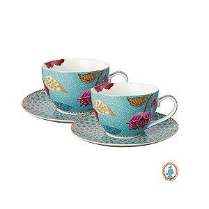 Set/2 Xícara de Chá Azul Floral Fantasy Pip Studio
