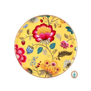 Prato para Bolo Amarelo Floral Fantasy Pip Studio